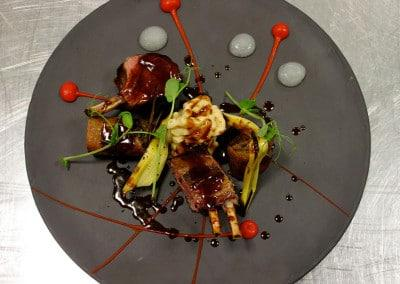 Chef Gabriel Martin's Lamb Rack, Crispy Shoulder, Cheesy Macaroni, Prosecco Gel & Barbeque Sauce