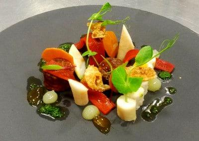 Chef Gabriel Martin's Slow Cooked Octopus, Red Capsicum Escabeche, Lemon Gel, Black Garlic Mayo
