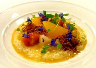 Chef Gabriel Martin's Spicy Tapioca, Crunched Honey Comb, Tropical Fruit & Lemon Gel