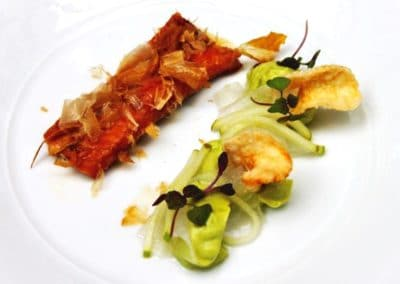 Chef Jake Nicolson's Warm Miso Glazed Eel with Avocado Puree, Apple, Pickled Kohlrabi, Prawn Crackers and Dancing Bonito