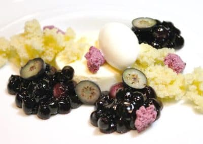 Chef Ron Paprocki's Vanilla Semifreddo with Local Blueberries, Ginger Cake and Yoghurt Sorbet