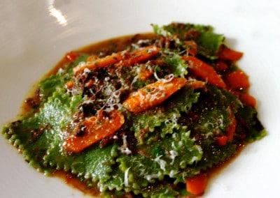 Chef David Dellal's Stinging Nettle Guadretti with Braised Wagyu Beef Cheek