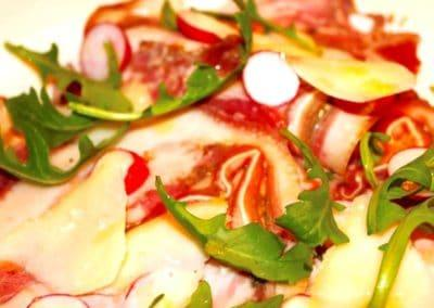 Chef Warren Flanagan's Cured Pigs Head Ham with Radishes and Pecorino