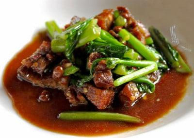 Chef Chaloem Chaiseeha's Ka Nah Moo Grob: Stir Fried with Chinese Broccoli & Pork belly