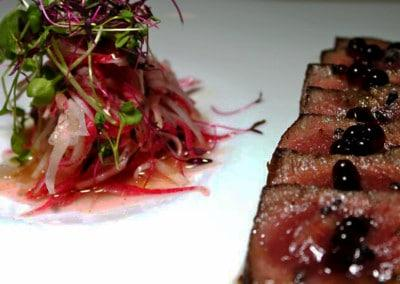 Chef Bill Oliva's Seared Strip Loin with Radish Salad, Soy Pearls, Black Hawaiian Sea Salt and Ginger Vinegar