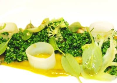 Chef Diego Munoz's Broccoli, Pistachio, Goats Milk Blue Cheese & Baby Sorrel