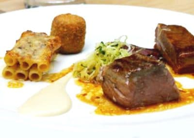 Chef Jake Nicolson's Veal: Grilled Loin, Braised Breast, Tongue & Sweet Bread Cromesqui