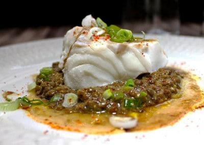 Chef Benoit Gaultier's Green Lentil Salad with a Filet of Cod