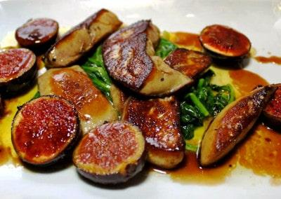 Chef Claude Perraudin's Fois Gras with Figs and Spinach Leaves
