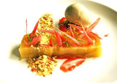 Gabriel Martin's 72 Hour Cooked Apples, Mum's Crumble, Deep Fried Rhubarb, Star Anise Ice Cream