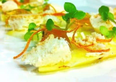 Gabriel Martin's Braised with Love Orange, White Chocolate, Cake, Dried Orange Skin, Pea Shoot