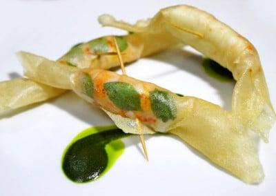 Chef Olivier Limousin's Crispy Langoustine Fritters with Basil Pistou