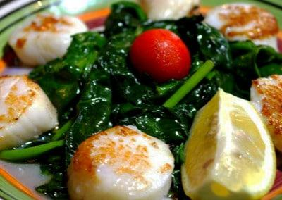 Chef Frank Castro's Viera's a la Gallega: Sea Scallops on a Bed of Spinach