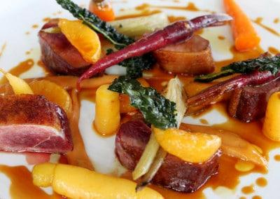 Chef Scotty Pickett's Aylesbury Duck Breast with a Burnt Mandarin Puree and Heirloom Carrots