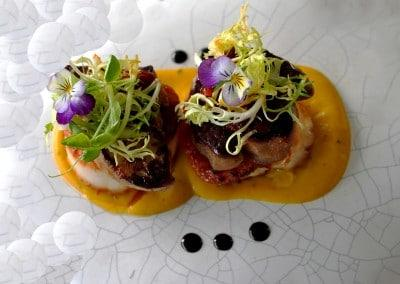 Chef Alessandro Frau's Pan Fried Scallop, and Fois Gras, with Chilli Jam & Truffle Pumpkin Sauce