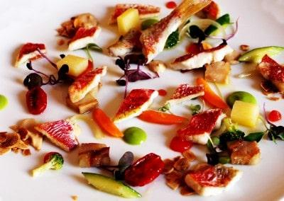 Chef Lino Scarallo's Mullet, Ciambotta of Vegetables, Lard & Toasted Almond Sauce