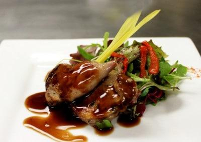 Chef Randy Reed's Balsamic Gaze Quail, Petite Mesclun Lettuce Mix & Roasted Red Pepper