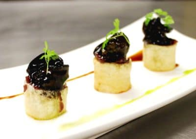 Chef Randy Reed's Burgundy Glazed Escargot, Potato Confit, Onion Marmalade
