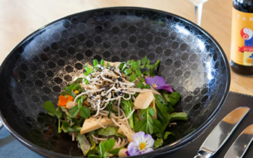 Chef Jake Nicholson's Organic Soba with Herbaceous Leaves, Asparagus & Marinated Tofu