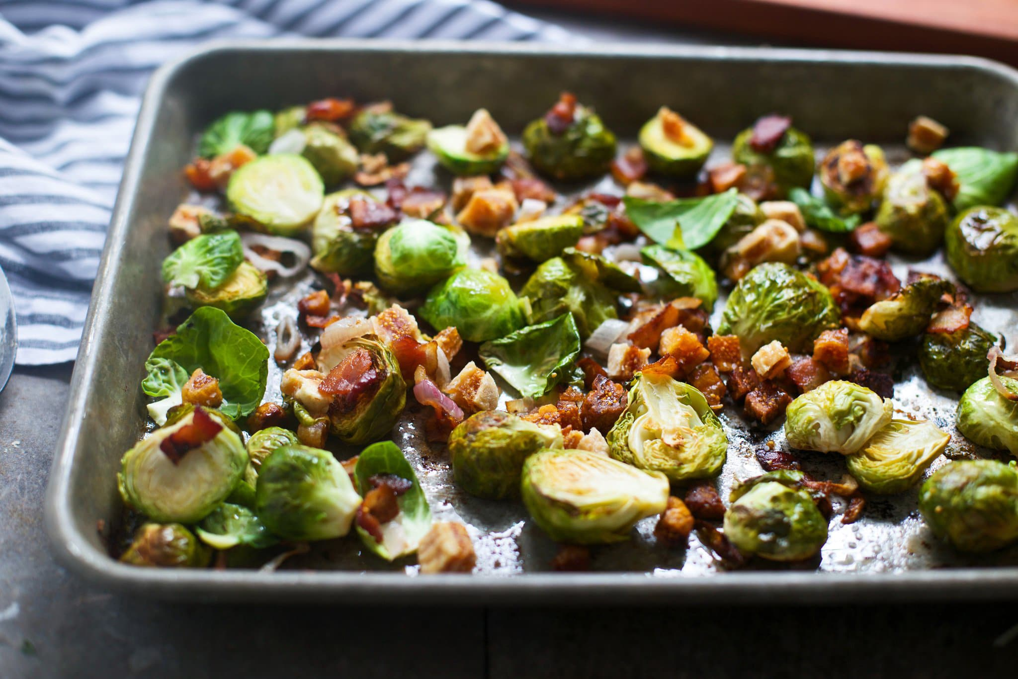 pan filled with sprouts